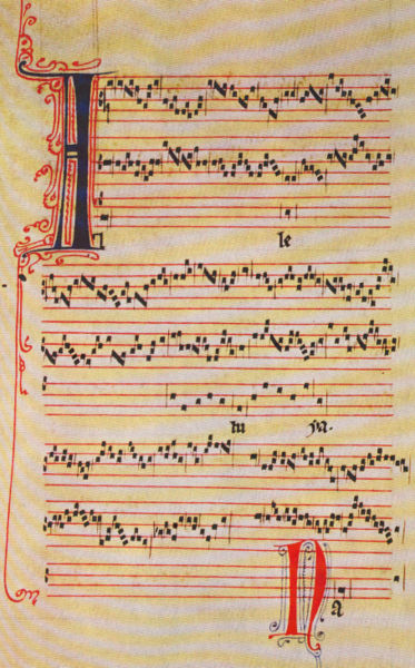A page of medieval music from